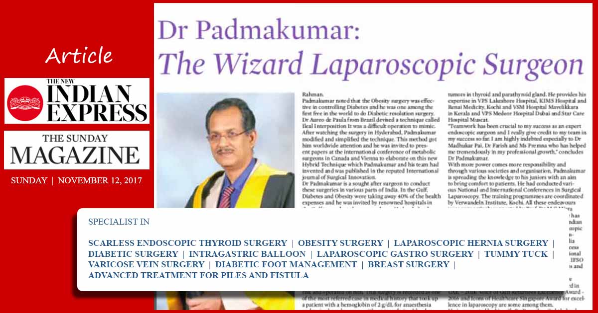 Best Laparoscopic Surgeon in Kerala - Article in Indian Express
