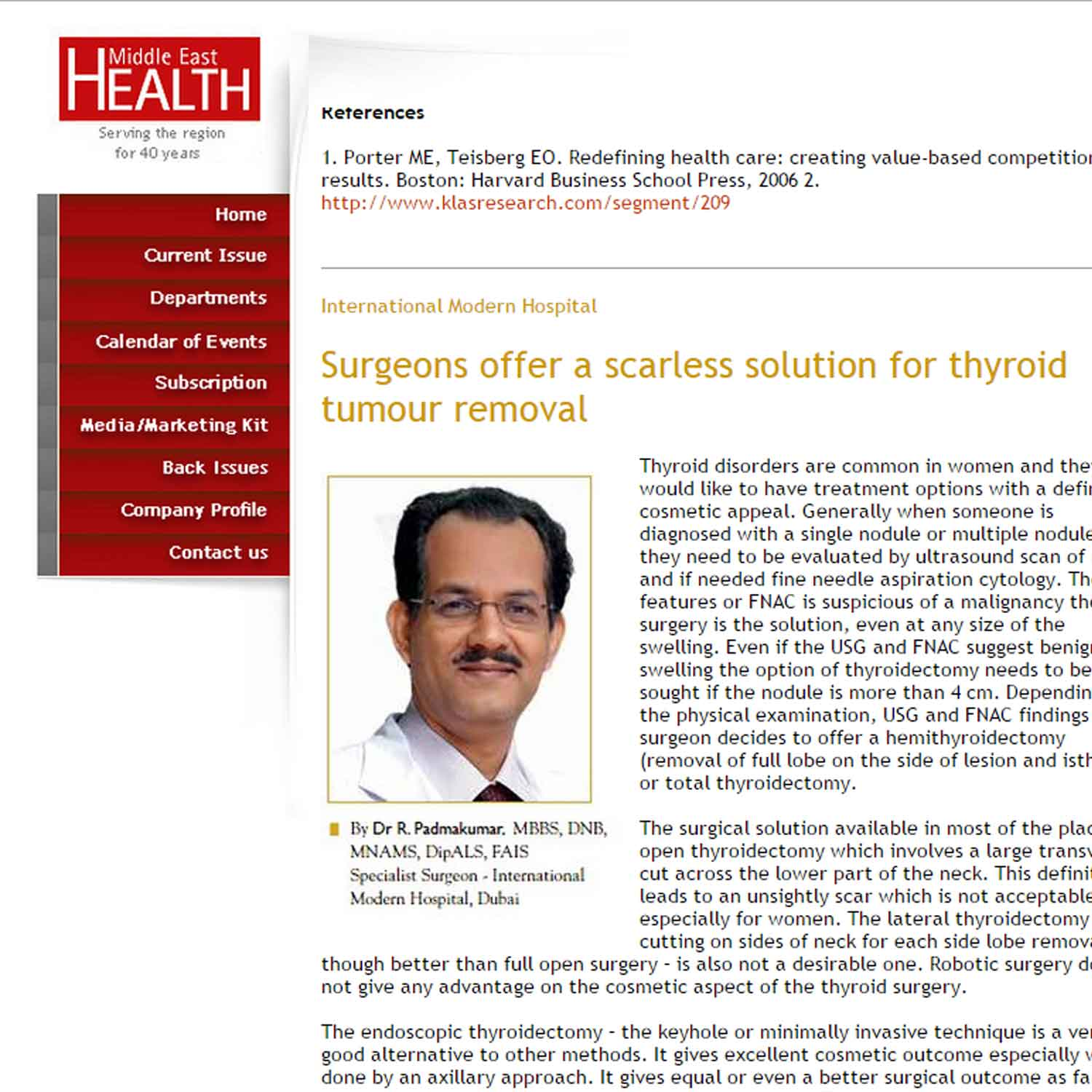 Surgeons offer a scarless solution for thyroid tumour removal