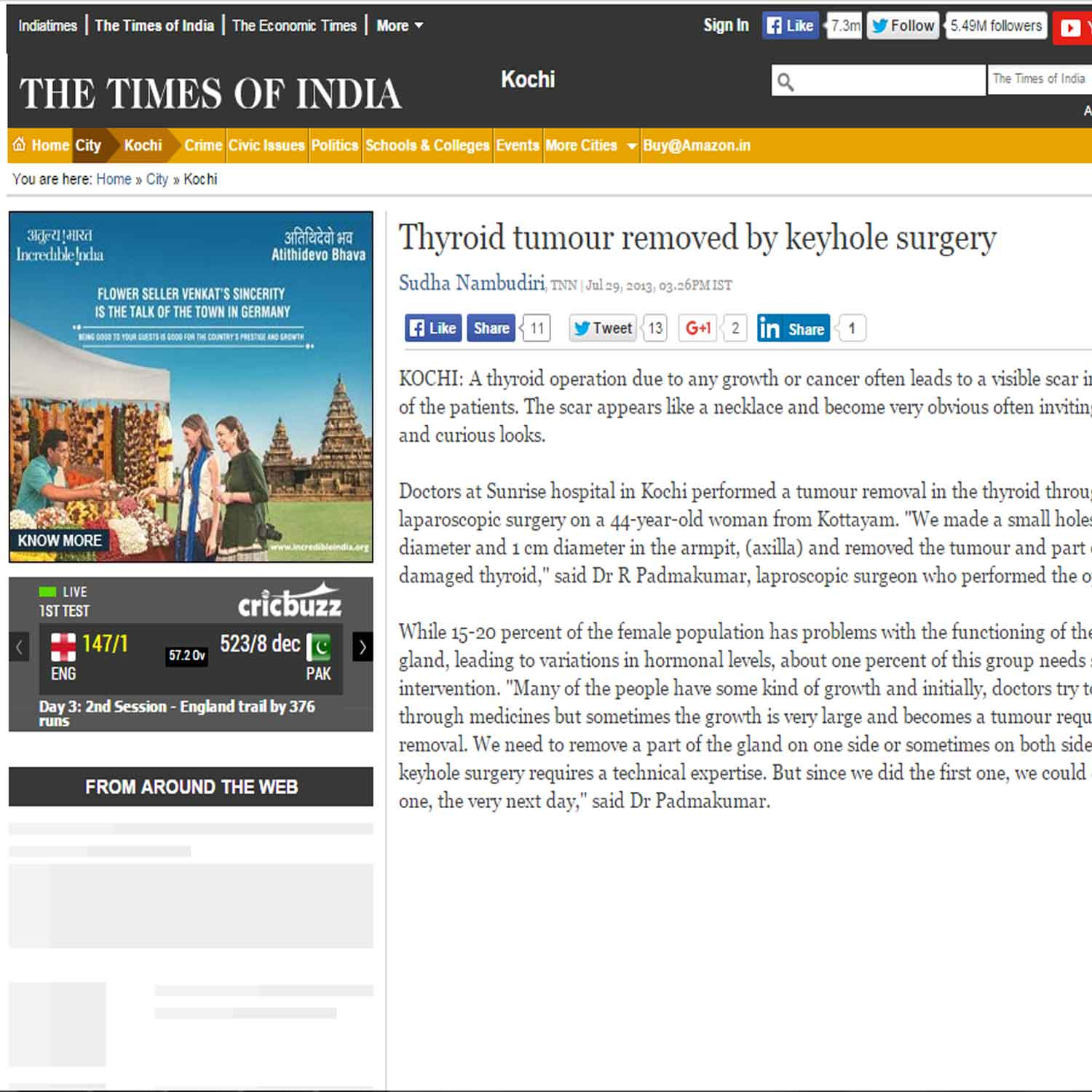 Thyroid tumour removed by keyhole surgery