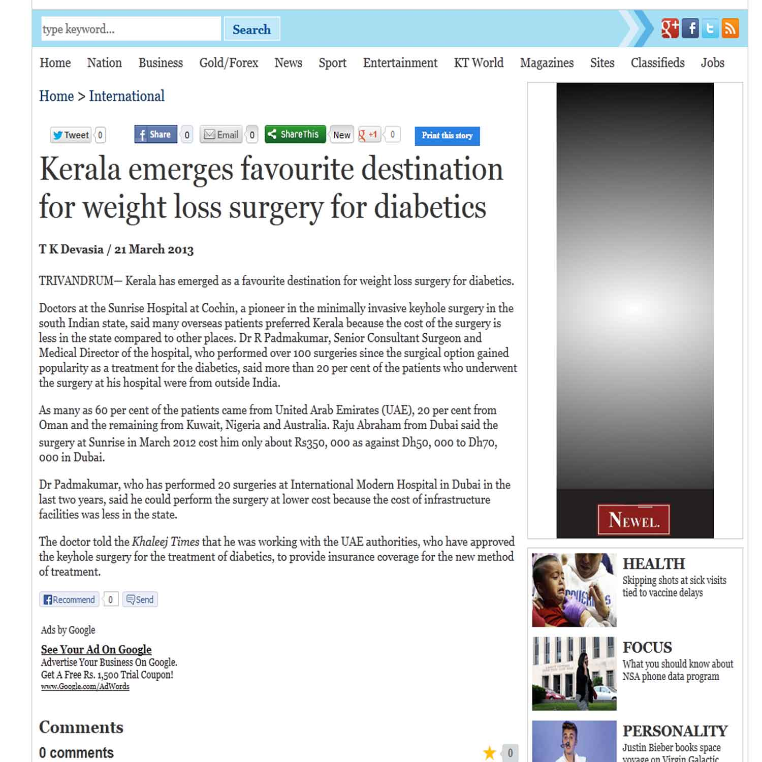 Kerala emerges favorite destination for weight loss surgery for diabetes