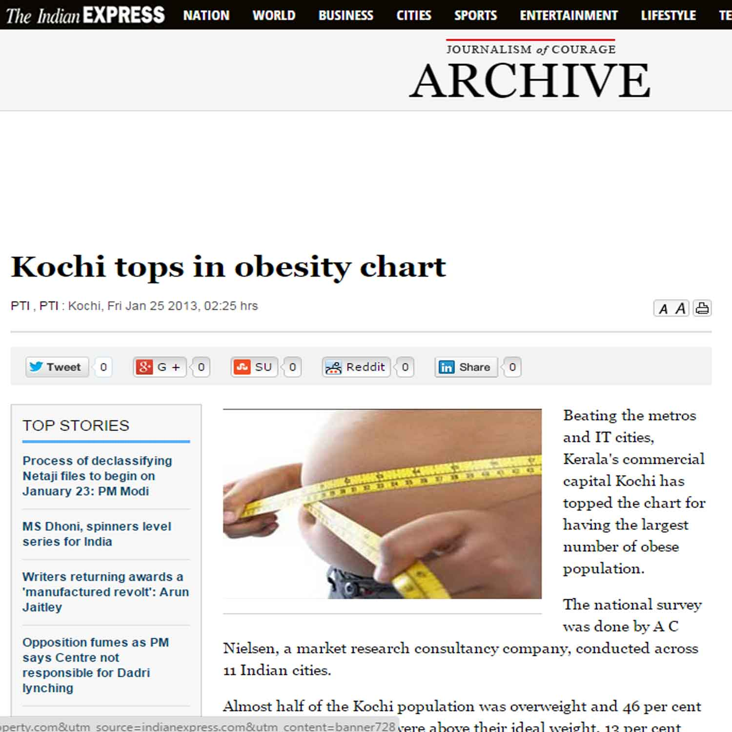 Kochi tops in obesity chart